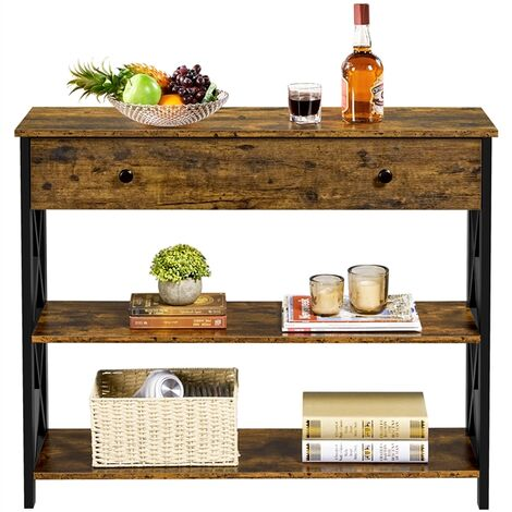 Wooden Console Sofa Table Narrow Side End Table with Shelf Storage, for Hallway/Living Room/Bedroom