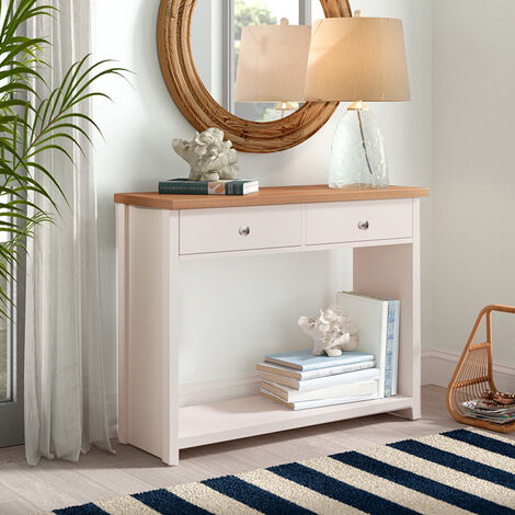 Wooden Console Table Hall End Side Table with 2 Drawers 1 Shelf
