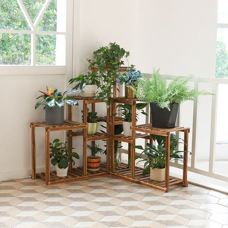 Wooden Corner Plant Stand Flower Rack Holder Storage Bonsai Garden Planter Herb