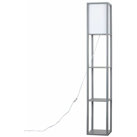 """main image of """"Wooden & Cotton Floor Lamp with Built In Shelving Units - White"""""""