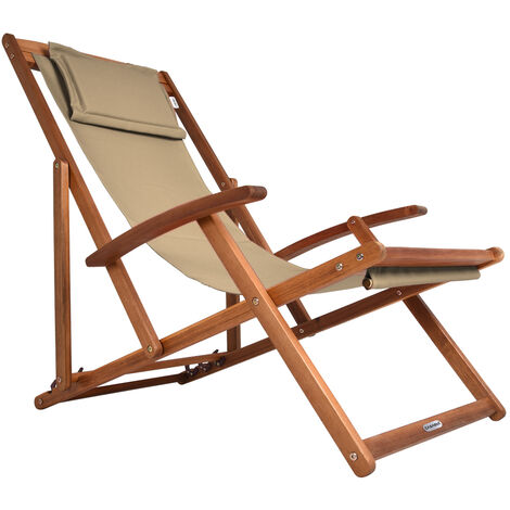 Wooden Deck Chair Acacia Wood 4 Different Colours Beige