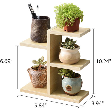 Wooden Desk Plant Display Stand Flower Pot Rack Stationery Storage white