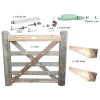"""Wooden Diamond Braced 5 Bar Larch Wood Field Farm Fencing 3 Foot gate with 2 x 8ft 6"""" x 6"""" Posts Plus Fixing Kit"""