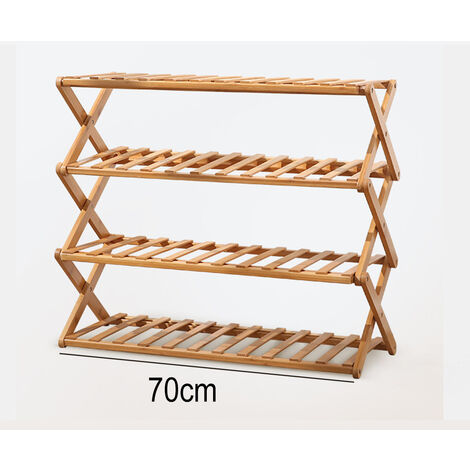 Wooden display stand 70cm pot display stand storage rack bamboo 4 tier plant flower stand (70cm)