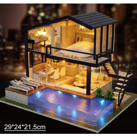 Wooden Dollhouse Miniatures DIY House Kit Funny Wooden Puzzle Box with Cover AC color