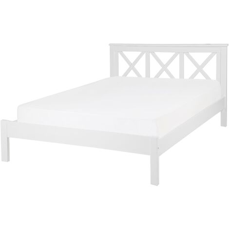 Wooden EU Double Size Bed White TANNAY