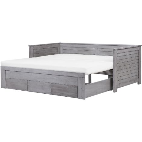 Wooden EU Single to Super King Size Daybed with Storage Grey CAHORS