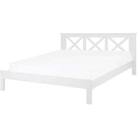 Wooden EU Super King Size Bed White TANNAY