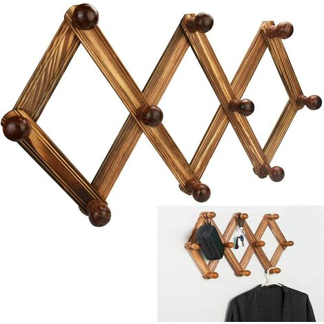 Wooden Extendable Wall Coat Hanger Vintage Retractable Wall Hanger with 10 Hooks Durable Foldable Wall Clothes Hanger for Hats Clothing Bags Towels Bedroom Living Room Entryway