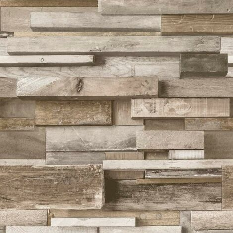 Wooden Façade Wallpaper Beige High Quality Vinyl Past The Wall