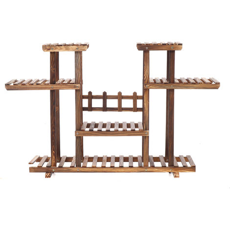 Wooden Flower Shelf Holder Without pulley 6 Tier Outdoor Indoor Garden Multiple Plants With 3 Gardening Tools