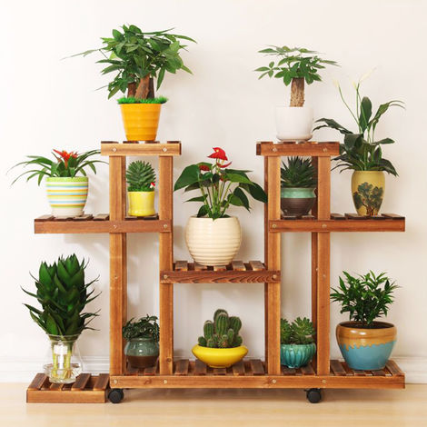 Wooden flower stand Plant stand Wooden shelves Display shelf