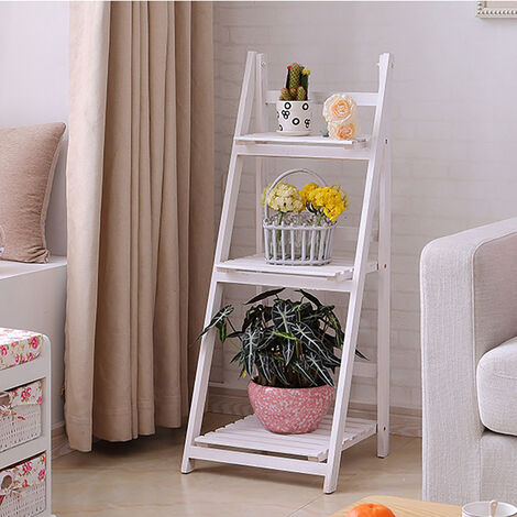 Wooden Foldable Ladder Bookshelf Plant Stand Storage Rack