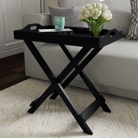 Wooden Folding Side Table Coffee/Tea Stand Removable Serving Tray X Shape Legs,Black