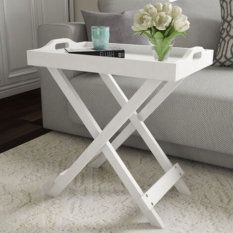 Wooden Folding Side Table Coffee/Tea Stand Removable Serving Tray X Shape Legs,White