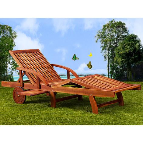 Wooden Folding Sun Lounger Extendable Tray Deck Chair Recliner Tami