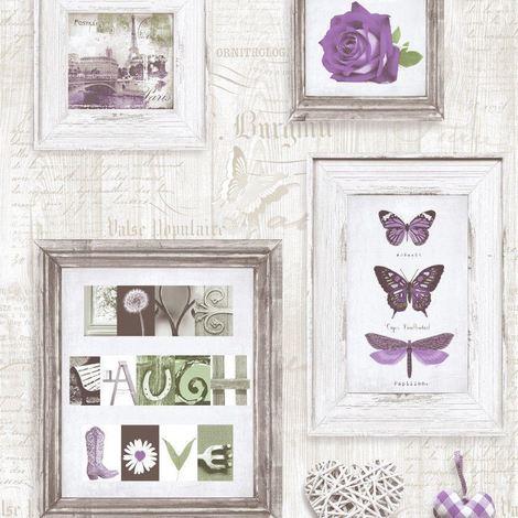 Wooden Frames Wallpaper Panels Butterflies Roses Hearts Words Light Grey Purple