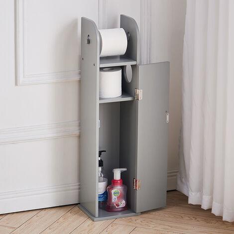 Wooden Free Standing Toilet Tissue Roll Holder Bathroom Storage Cabinet,Grey