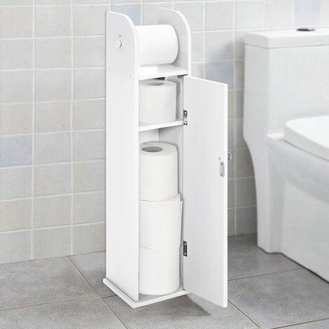 Wooden Free Standing Toilet Tissue Roll Holder Bathroom Storage Cabinet,White