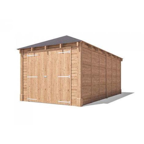Wooden Garage Hercules W3m x D6m - Heavy Duty Car Storage Motorbike Shelter with Roof Felt