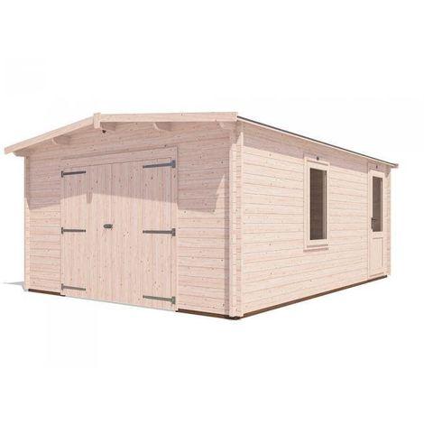 Wooden Garage Trent W4m x D5.5m - Low Roof Car Storage Garden Drive Heavy Duty Tool Shed Log Cabin Workshop Roof Felt