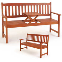 Wooden Garden Bench with Folding Table Love Seat