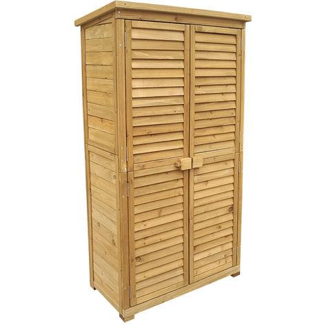 Wooden Garden Cabinet with Slat Door made of Fir Wood & Bitumen Roof for Storage, 870x465x1600mm