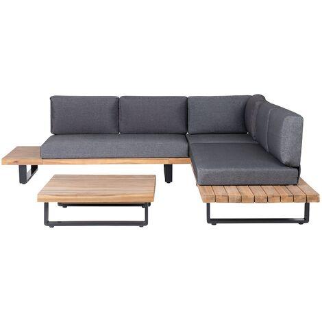 Wooden Garden Corner Set Sofa Coffee Table Acacia Light Wood Grey Cushions Mykonos