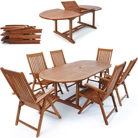Pleasant Wooden Garden Dining Set Deuba Vanamo Table And 6 Reclining Beutiful Home Inspiration Ommitmahrainfo