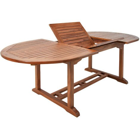Wooden Garden Dining Table Vanamo FSC®-Certified Eucalyptus Wood Outdoor Patio Conservatory Oval Furniture 6 Seater