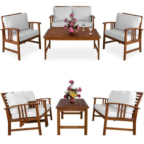 Wooden Garden Furniture Patio Bistro Set FSC Certified 4 Seater Acacia Hardwood