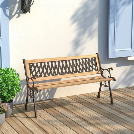 Wooden Garden Patio Bench Cast Iron Ends Legs Outdoor Park Chair 2-3 Seater Metal
