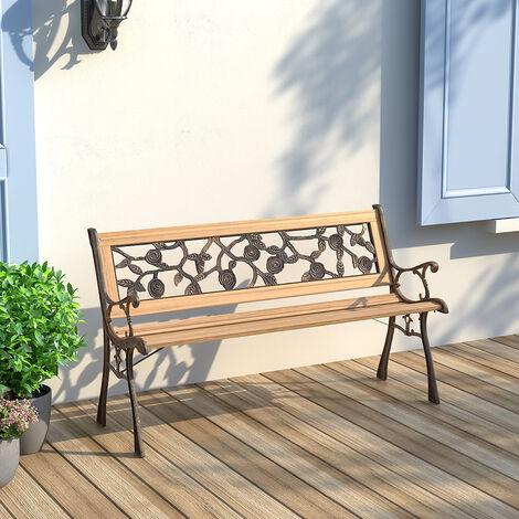 Wooden Garden Patio Bench Cast Iron Ends Legs Outdoor Park Chair 2-3 Seater Metal