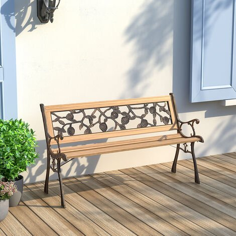 """main image of """"Wooden Garden Patio Bench Cast Iron Ends Legs Outdoor Park Chair 2-3 Seater Metal"""""""