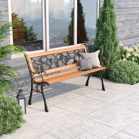 Wooden Garden Patio Bench Cast Iron Ends Legs Outdoor Park Chair Love Seat Metal