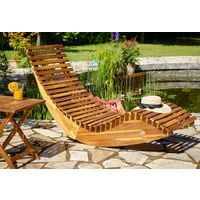 Wooden Garden Sauna Lounger, Deckchair, Sun Bed - FSC® Certified Acacia Wood & Cushions