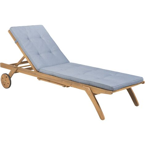 Wooden Garden Sun Lounger with Cushion Blue CESANA
