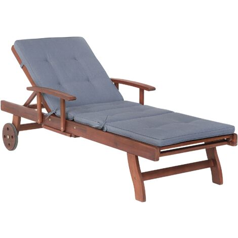 Wooden Garden Sun Lounger with Cushion Blue TOSCANA