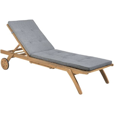 Wooden Garden Sun Lounger with Cushion Grey CESANA