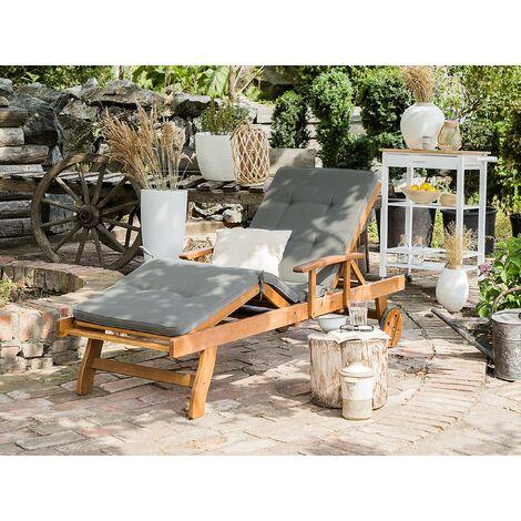 Wooden Garden Sun Lounger with Cushion Grey JAVA