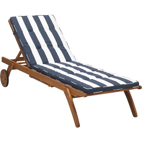 Wooden Garden Sun Lounger with Cushion Navy Blue and White CESANA
