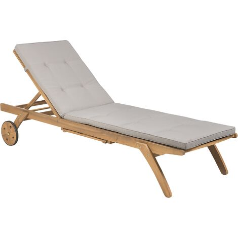 Wooden Garden Sun Lounger with Cushion Taupe CESANA