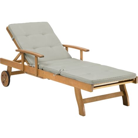 Wooden Garden Sun Lounger with Cushion Taupe JAVA
