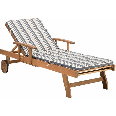 Wooden Garden Sun Lounger with Cushion White with Beige JAVA