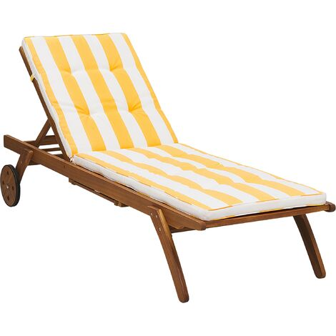 Wooden Garden Sun Lounger with Cushion Yellow and White CESANA