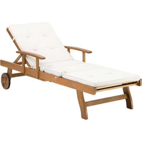 Wooden Garden Sun Lounger with Off-White Cushion JAVA