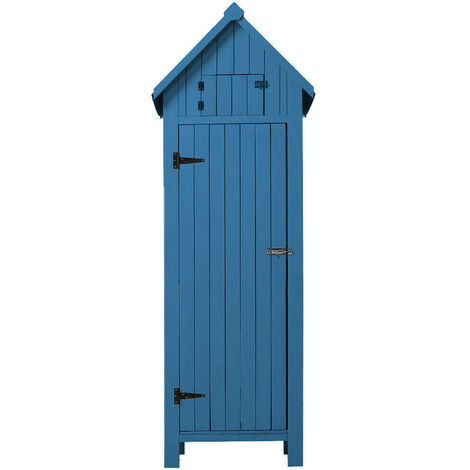 Wooden Garden Tool Shed 65x46x179 Blue Storage Cabinet Outdoor