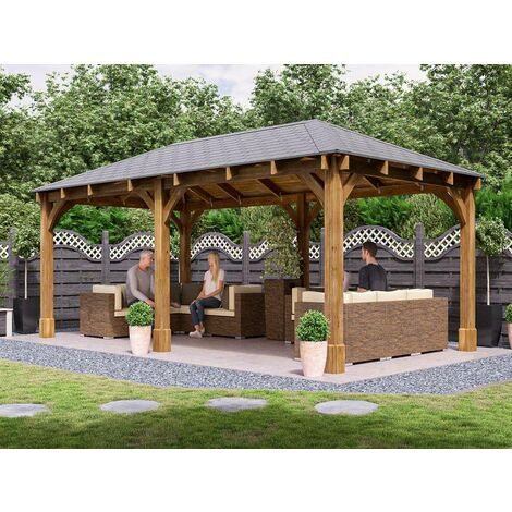 """main image of """"Wooden Gazebo Atlas - Permanent Heavy Duty Pressure Treated Patio Shelter With Roof Felt Included And 10 Year Guarantee"""""""