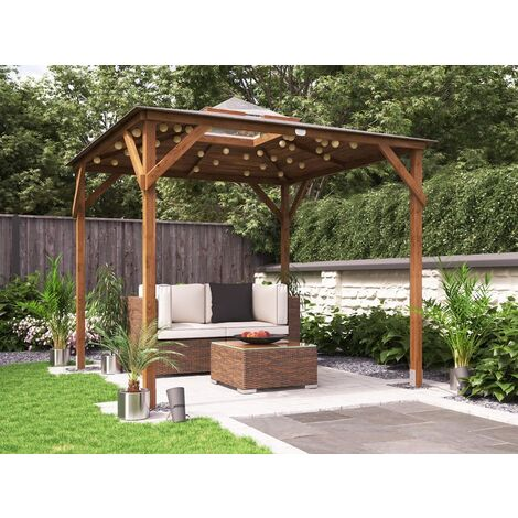 Wooden Gazebo Erin W2.5m x D2.5m - Garden Shelter Pressure Treated Hot Tub Pavilion with Roof Felt