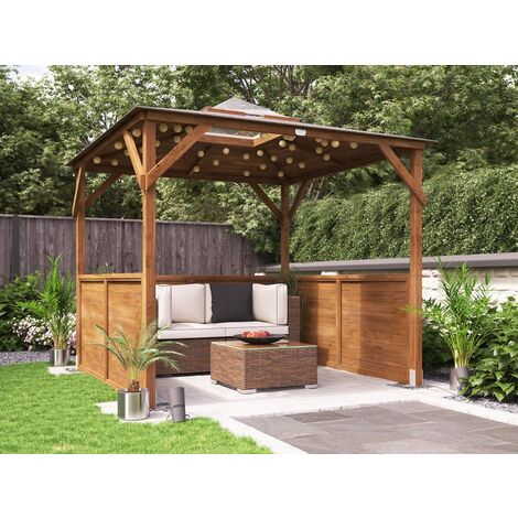 Wooden Gazebo Erin W2.5m x D2.5m - Half Height Solid Wall Garden Shelter Pressure Treated Hot Tub Pavilion with Roof Felt